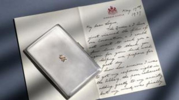 King George VI letter and cigarette case