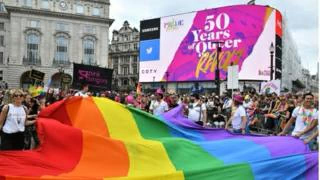 Pride flag at Piccadilly Circus