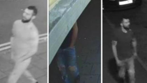 Collage of images released by police of the suspect in three attacks on women