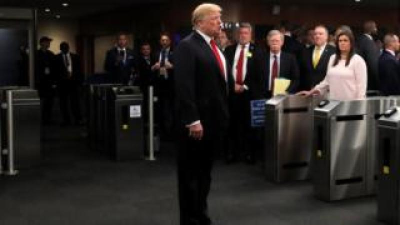 Mr Trump speaking to reporters at the UN headquarters in New York