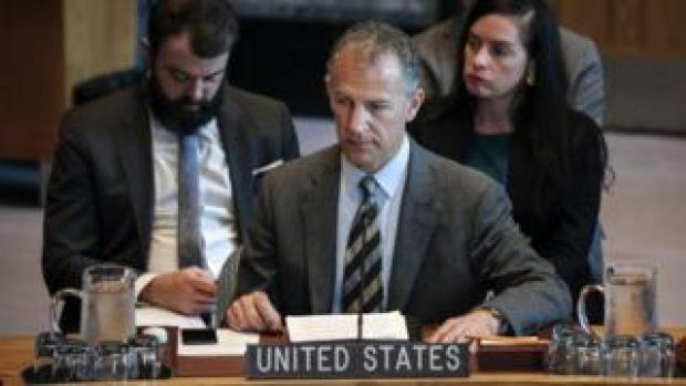Jonathan Cohen, acting U.S. Ambassador to the United Nations, attends a United Nations Security Council meeting at U.N. headquarters, 23 April 2019 in New York City