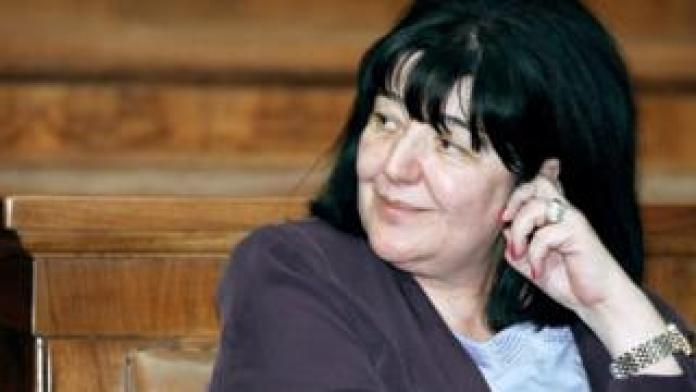 Mirjana Markovic, the widow of the late Serbian strongman Slobodan Milosevic, during a parliamentary session in Belgrade in 2001.