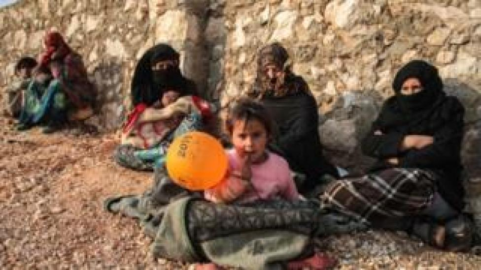trump Displaced Syrians from Idlib province sit out in the open in the countryside