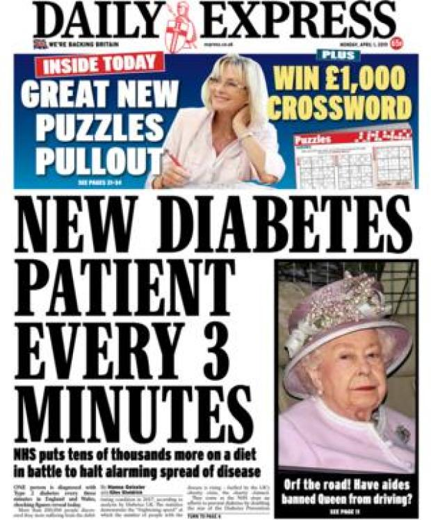 Monday's Daily Express front page