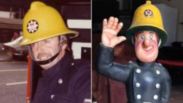 Fireman Sam creator David Jones and the firefighter figurine he created