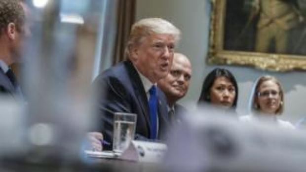 US President Donald Trump meets with a bipartisan group of Congress to discuss tax reform, 13 September 2017
