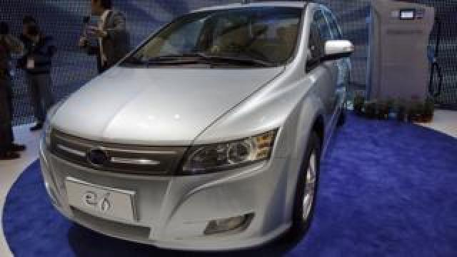 BYD electric car at a motor show in China