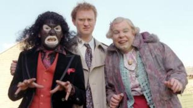 The League of Gentlemen with Reece Shearsmith as Papa Lazarou (left)