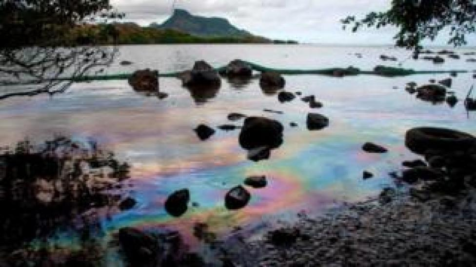 A picture taken on August 15, 2020 shows iridescence on the water at the beach in Petit Bel Air.