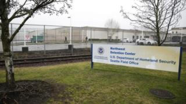The US Department of Homeland Security Northwest Detention Center is pictured in Tacoma, Washington on February 26, 2017