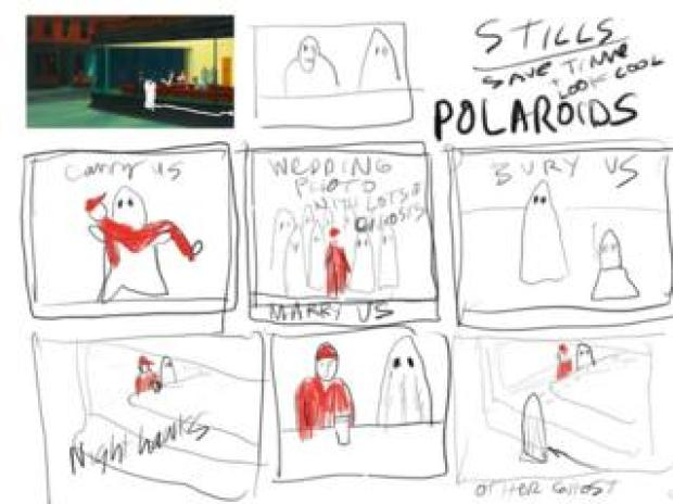 A storyboard for the second verse of A Ghost