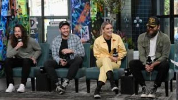 "Jonathon Douglass, Matt Crocker, Taya Smith and Joel Houston of Hillsong United discuss their multi-platinum album, ""People"" at Build Studio in April in New York"