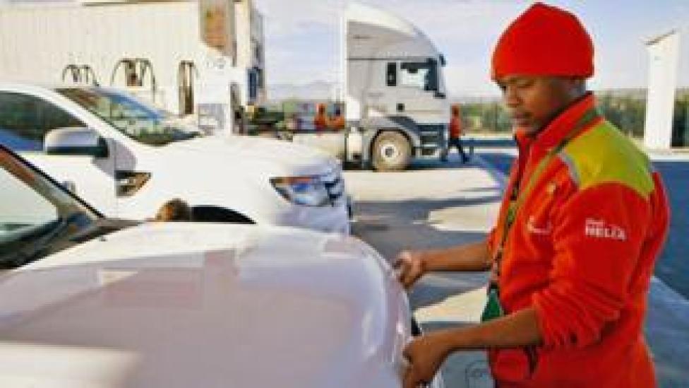 Nkosikho Mbele at the petrol station