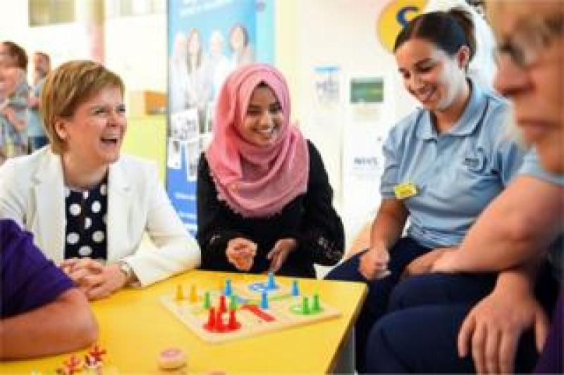 Scotland's First Minister Nicola Sturgeon meets NHS staff and patients at the Royal Hospital for Children in Glasgow