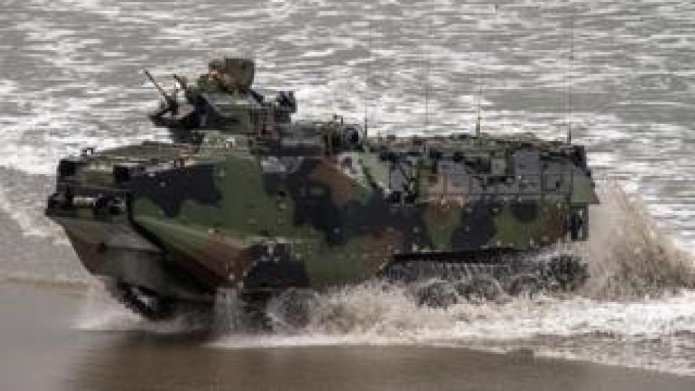 File image of US amphibious assault vehicle near Camp Pendleton, California in 2014