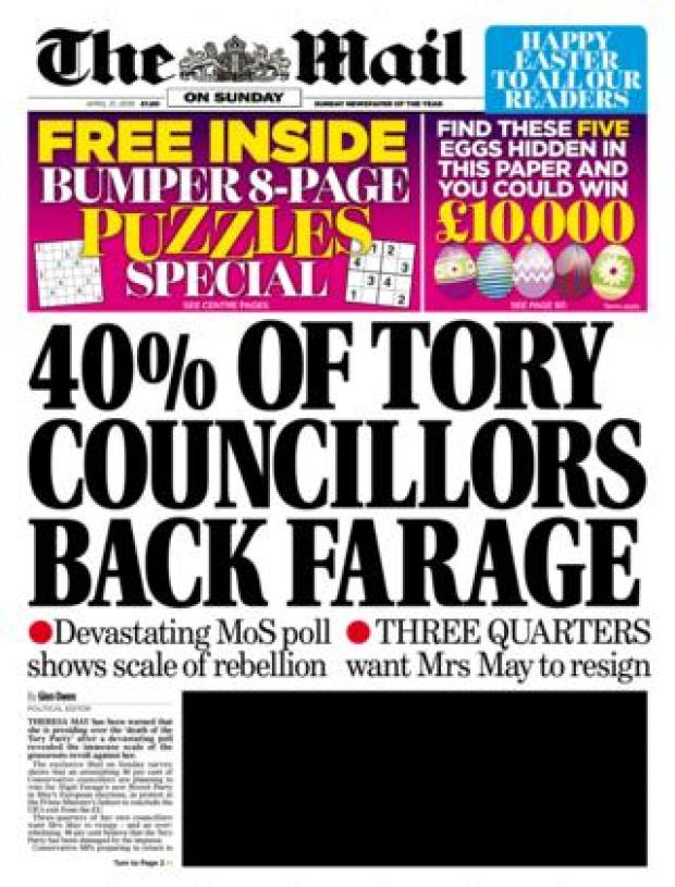 Mail on Sunday front page 21/04/19