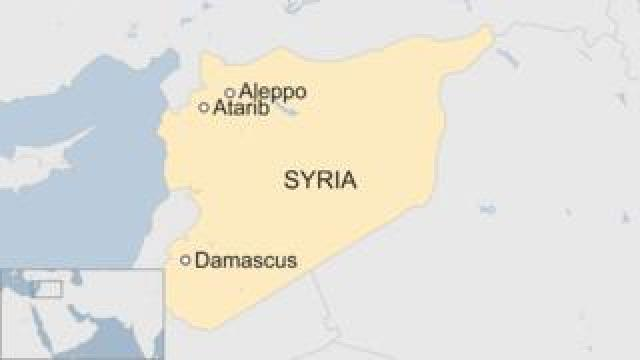 Map showing Atareb in Syria