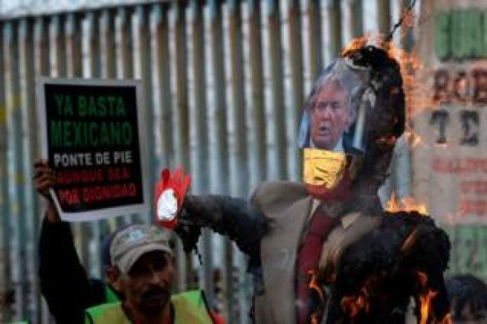 Trump effigy burned on the south side of the US-Mexico border