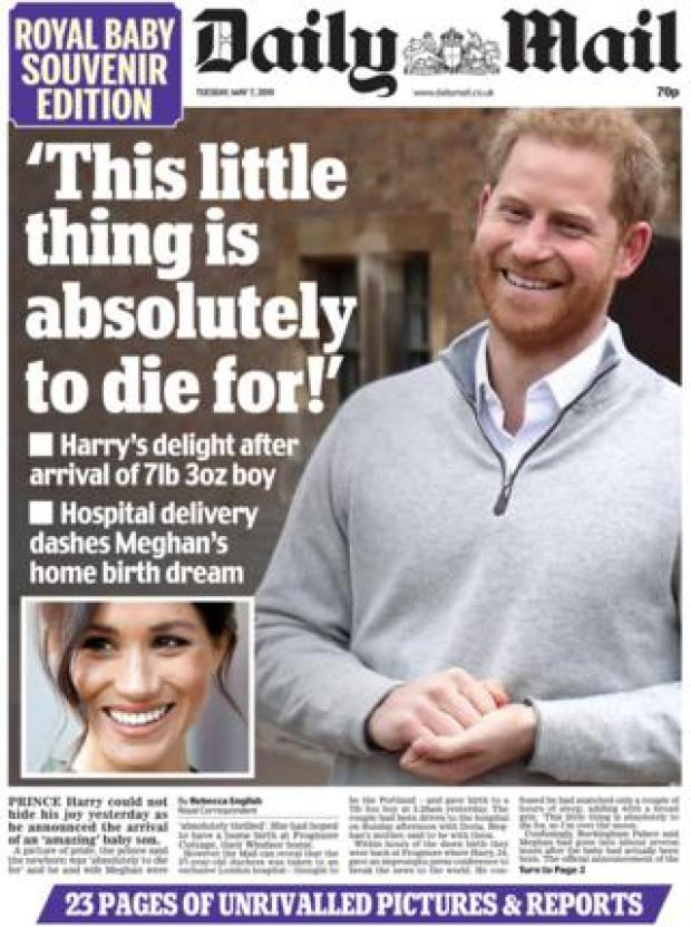 Daily Mail front page 07/05/19
