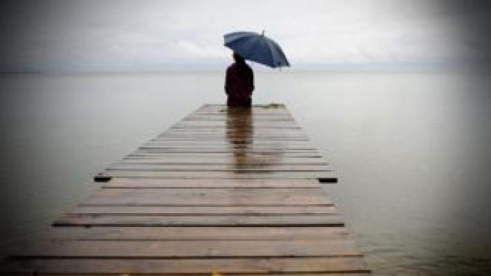 Person on jetty