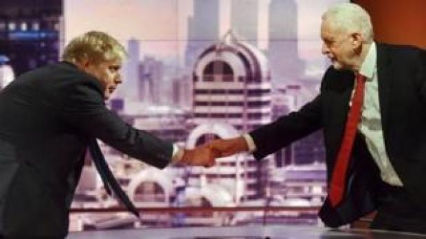 Boris Johnson and Jeremy Corbyn shake hands