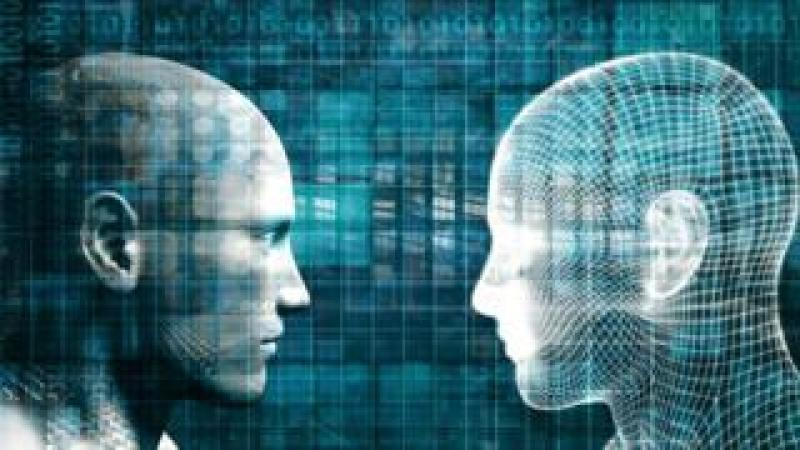 Graphic of digital heads staring at each other
