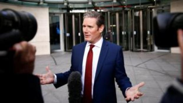 Sir Keir Starmer speaking to the press outside BBC New Broadcasting House in London