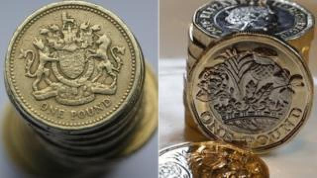 Old and new pounds coins