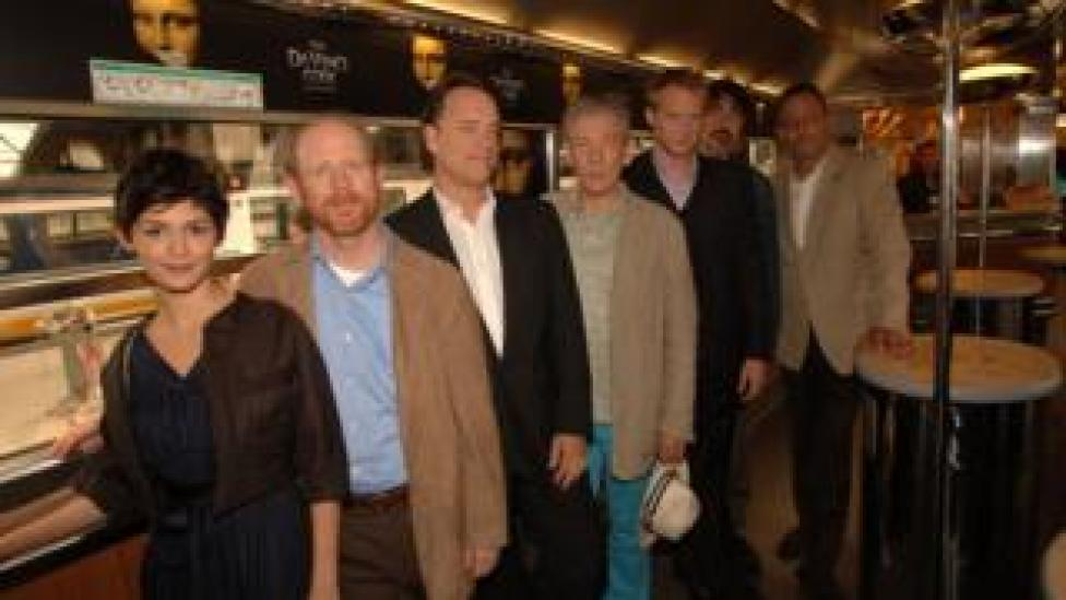 Audrey Tautou, Director Ron Howard, Tom Hanks, Ian McKellen, Paul Bettany, Alfred Molina and Jean Reno travel by Eurostar train to the Cannes Film Festival