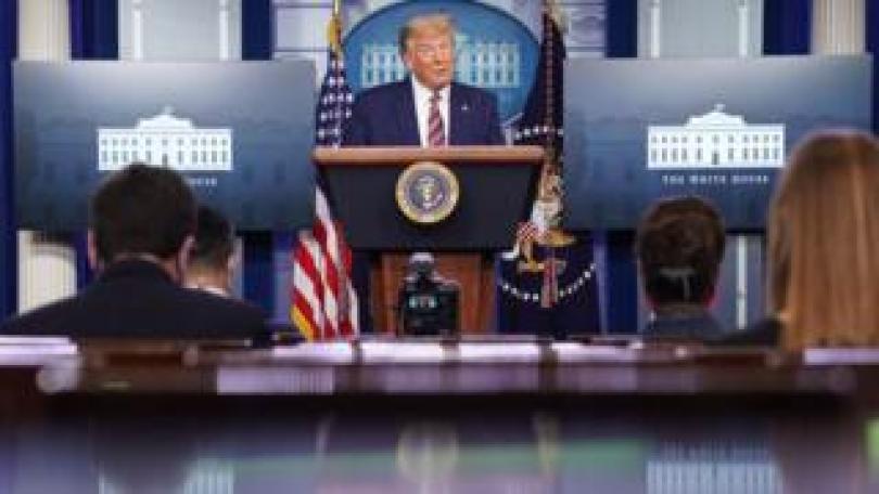 President Trump speaks to press