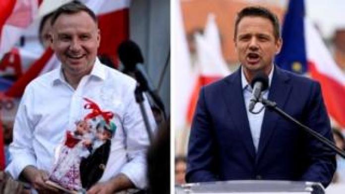 Andrzej Duda (L) faces a strong challenge from Warsaw Mayor Rafal Trzaskowski