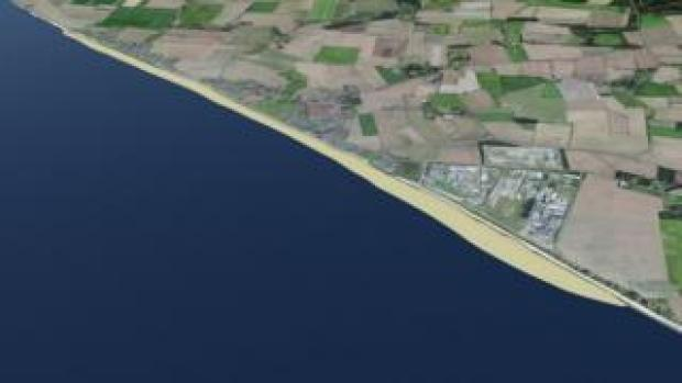 The coastline as it would look after sandscaping