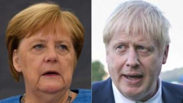 Angela Merkel (left) and Boris Johnson