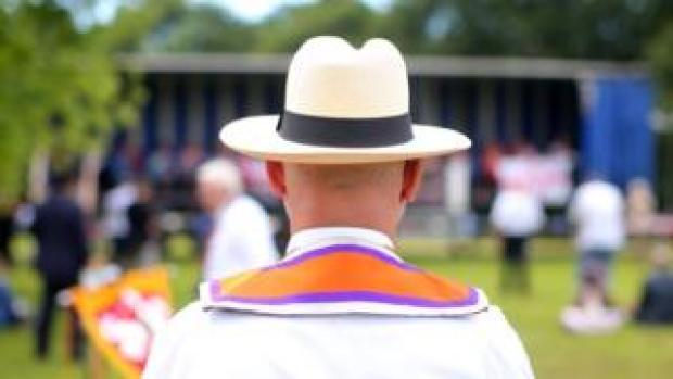 An Orangeman in the demonstration field in Belfast