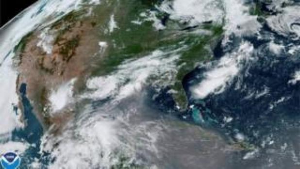 A column of dust from the Sahara desert approaches the United States from the Caribbean on an image from the GOES-East satellite of the National Oceanic and Atmospheric Administration (NOAA) on June 24, 2020.