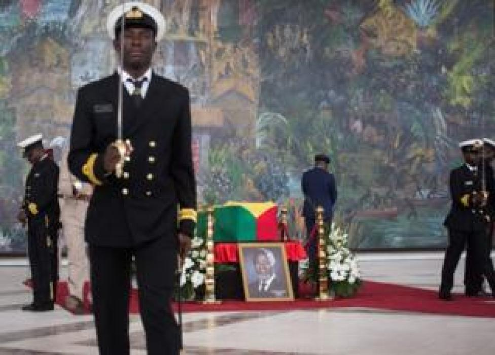 NEWS Militaries guard the coffin of Kofi Annan, Ghanaian diplomat and former Secretary General of United Nations who died on August 18 at the age of 80 after a short illness, at the Accra International Conference Centre in Accra ahead of his funeral on September 12, 2018.