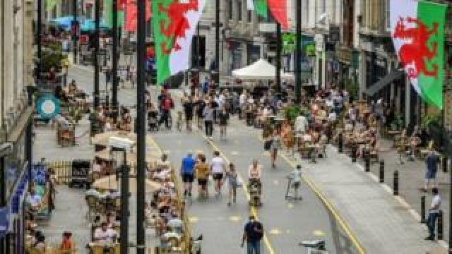 Cardiff city centre at the end of July