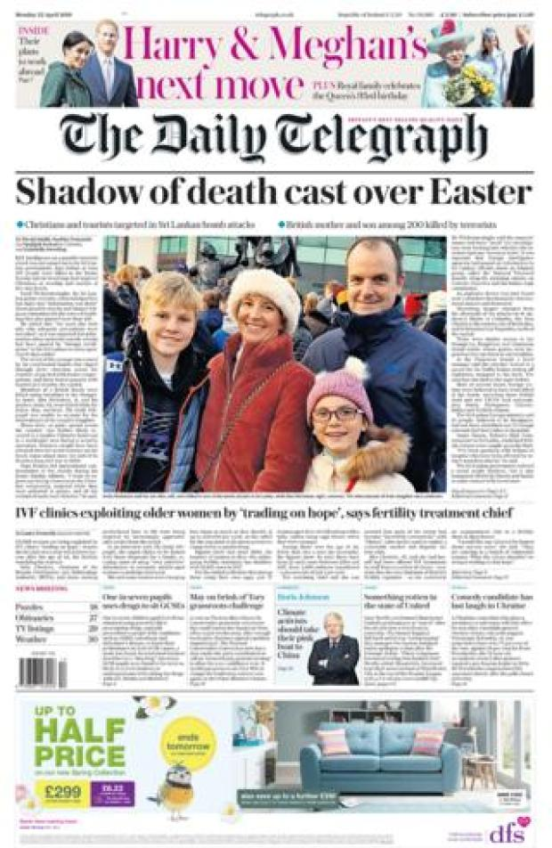 Telegraph front page 22/04/19