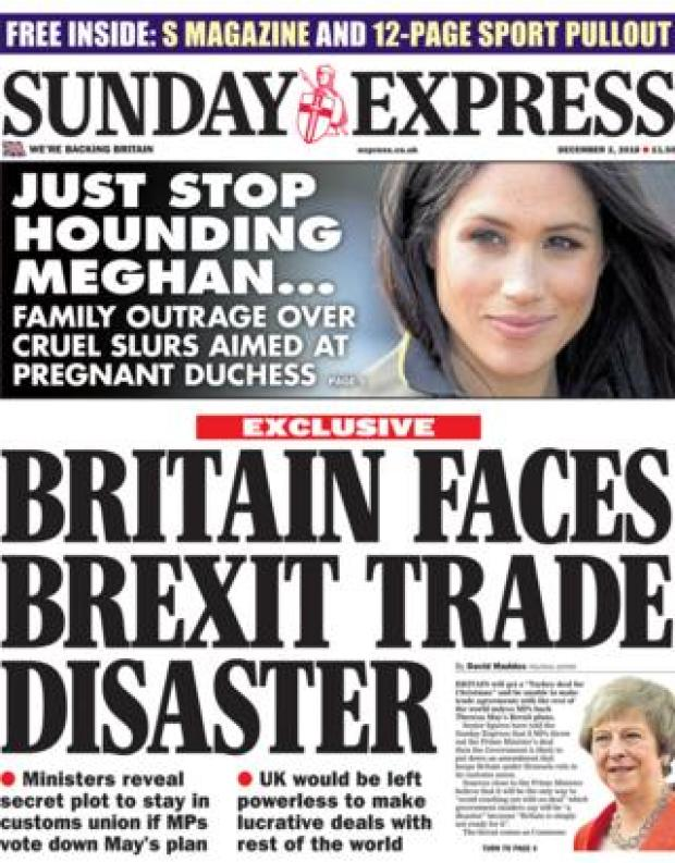 Sunday Express front page, 2/12/18