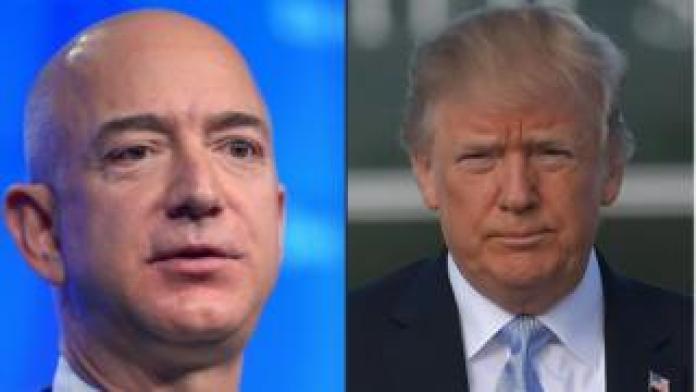 President Trump (right) and Amazon owner Jeff Bezos