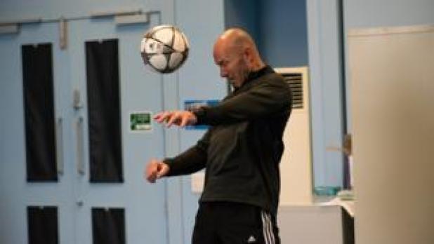 Alan Shearer heading a ball