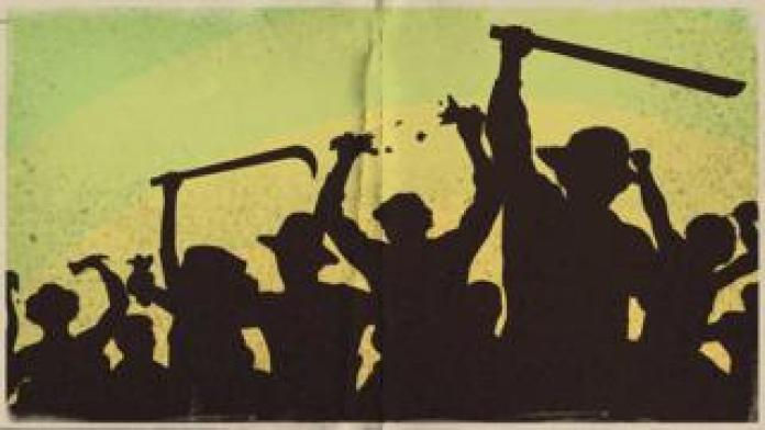 Ilustração de homens e mulheres lavradores, com armas nas mãos e rasgam papeis - no caso, os decretos estatísticos do Império
