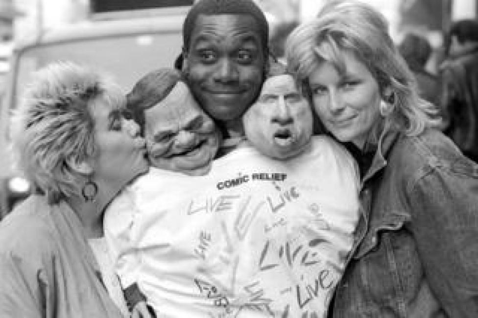 'Light Relief' Spitting Image photocall for Comic Relief with Dawn French, Lenny Henry and Jennifer Saunders