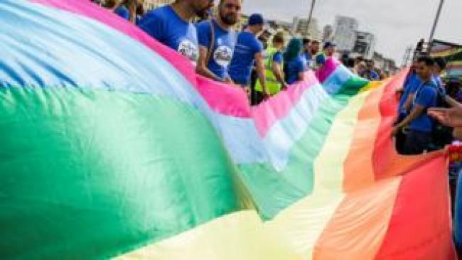 A flag being held at Brighton Pride