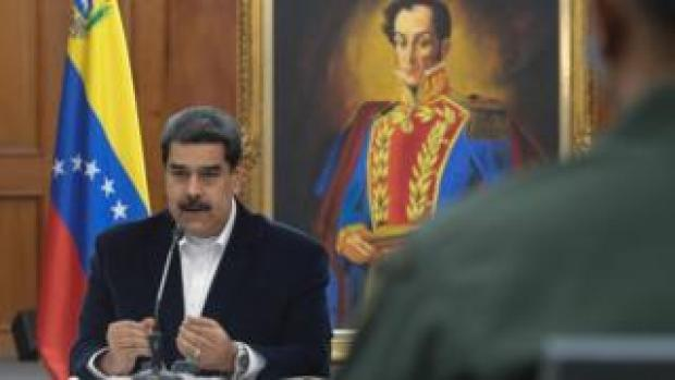 President Nicolas Maduro speaking during a meeting with members of the Armed Forces on May 4, 2020