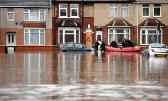 A flooded street in Doncaster