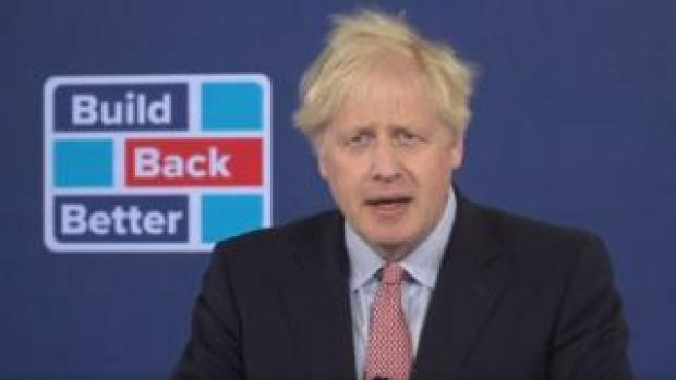 Boris Johnson giving his virtual conference speech