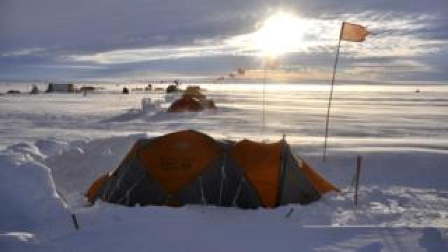 Extreme camping in Antarctica, tents in the snow