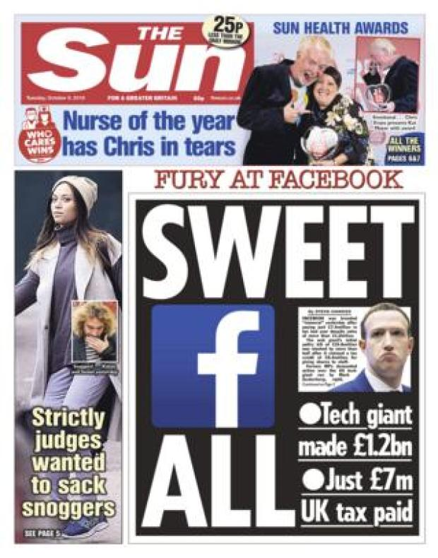The Sun front page - 09/10/18