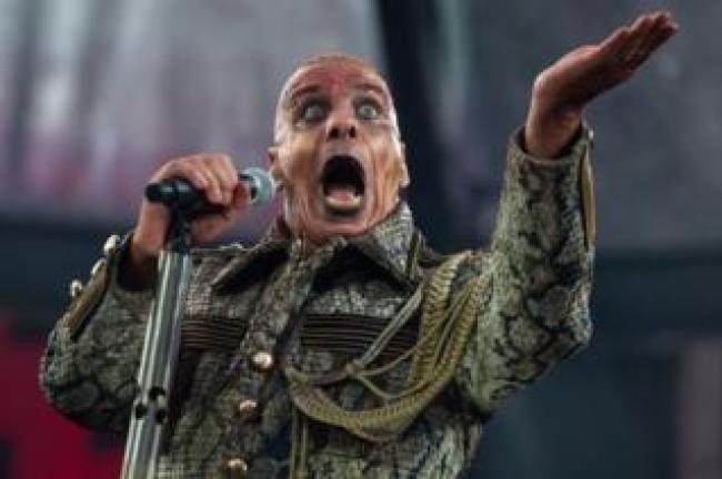Till Lindemann performing during a Rammstein gig